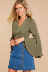 5 Wanting This Olive Tie Top at reddressboutique.com