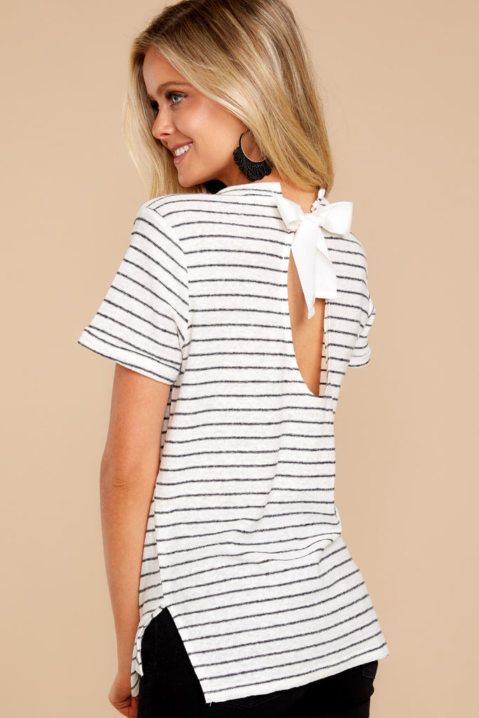 3 See This Smile White And Black Stripe Top at reddressboutique.com