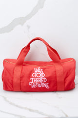 1 Wine Work It Out Red Gym Bag at reddressboutique.com