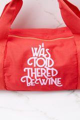 2 Wine Work It Out Red Gym Bag at reddressboutique.com