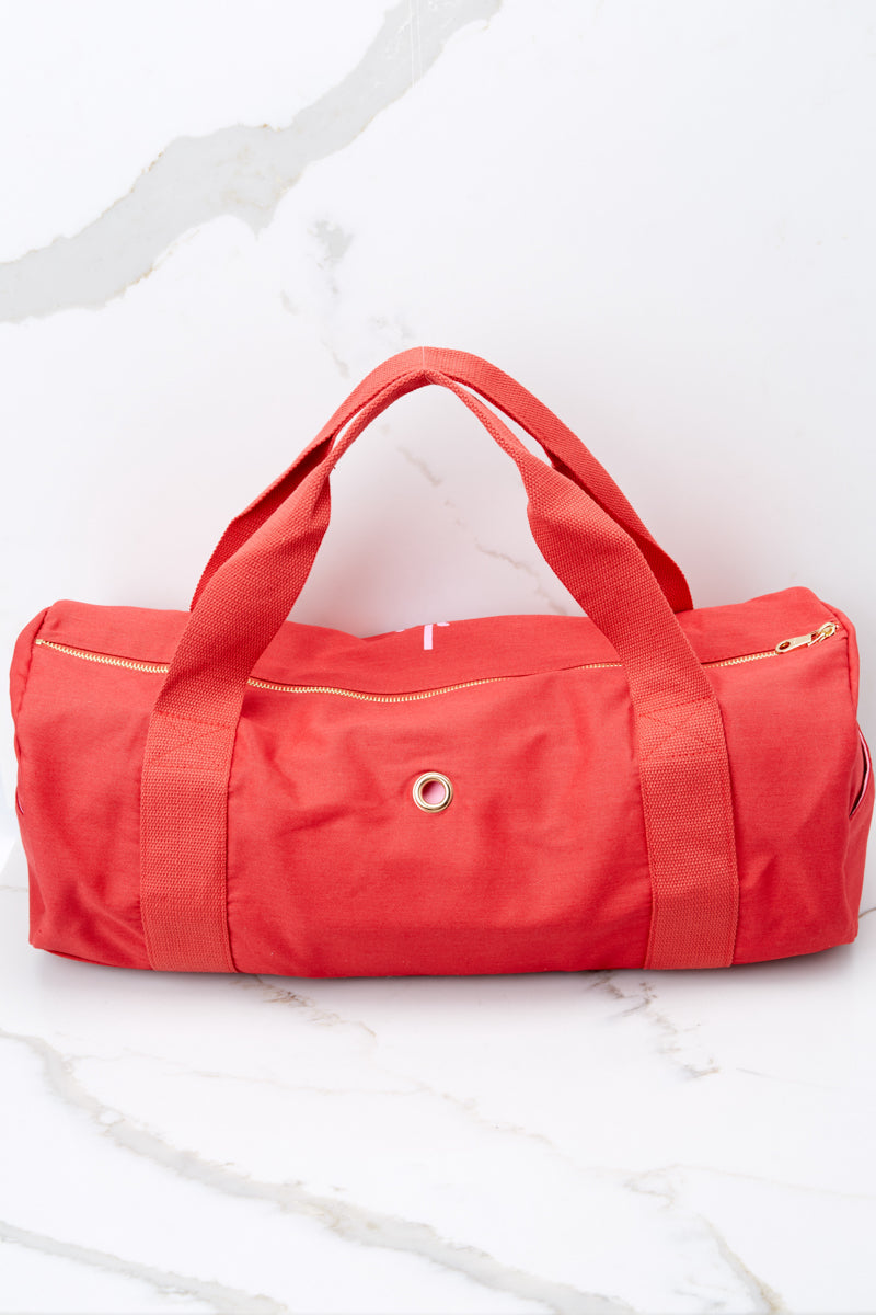 3 Wine Work It Out Red Gym Bag at reddressboutique.com