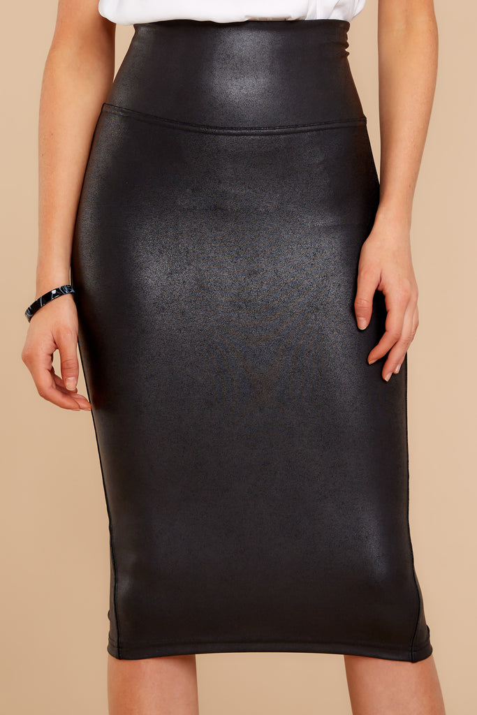 1 Bold Moves Black Vegan Leather Pencil Skirt at reddress.com
