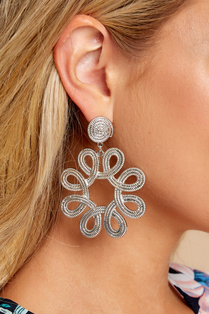 1 One Floral Silver Earrings at reddressboutique.com