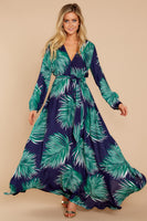 V-neck Faux Wrap Belted Elasticized Tie Waist Waistline Rayon Long Sleeves Tropical Print Maxi Dress