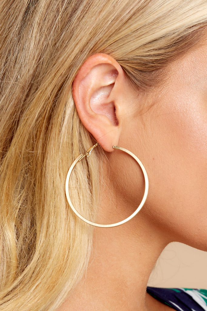 2 Circle Up Gold Hoop Earrings at reddressboutique.com