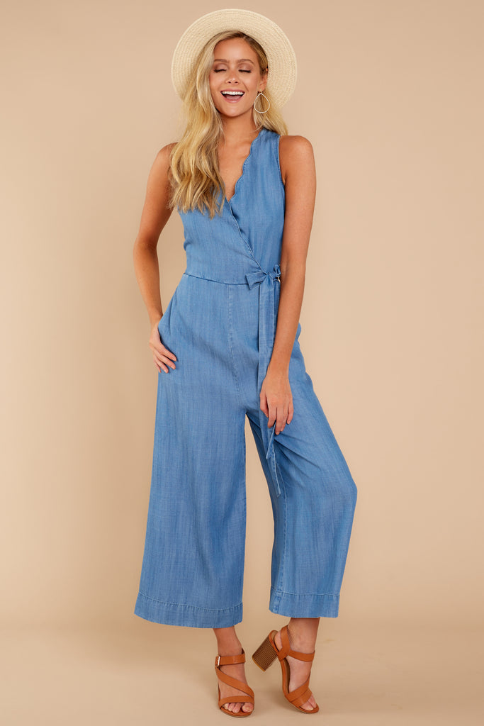 4a62771255 Stylish Light Chambray Jumpsuit - Sleeveless Jumpsuit - Playsuit ...