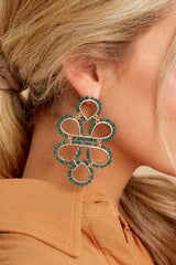 1 On Another Level Hunter Green Earrings at reddressboutique.com