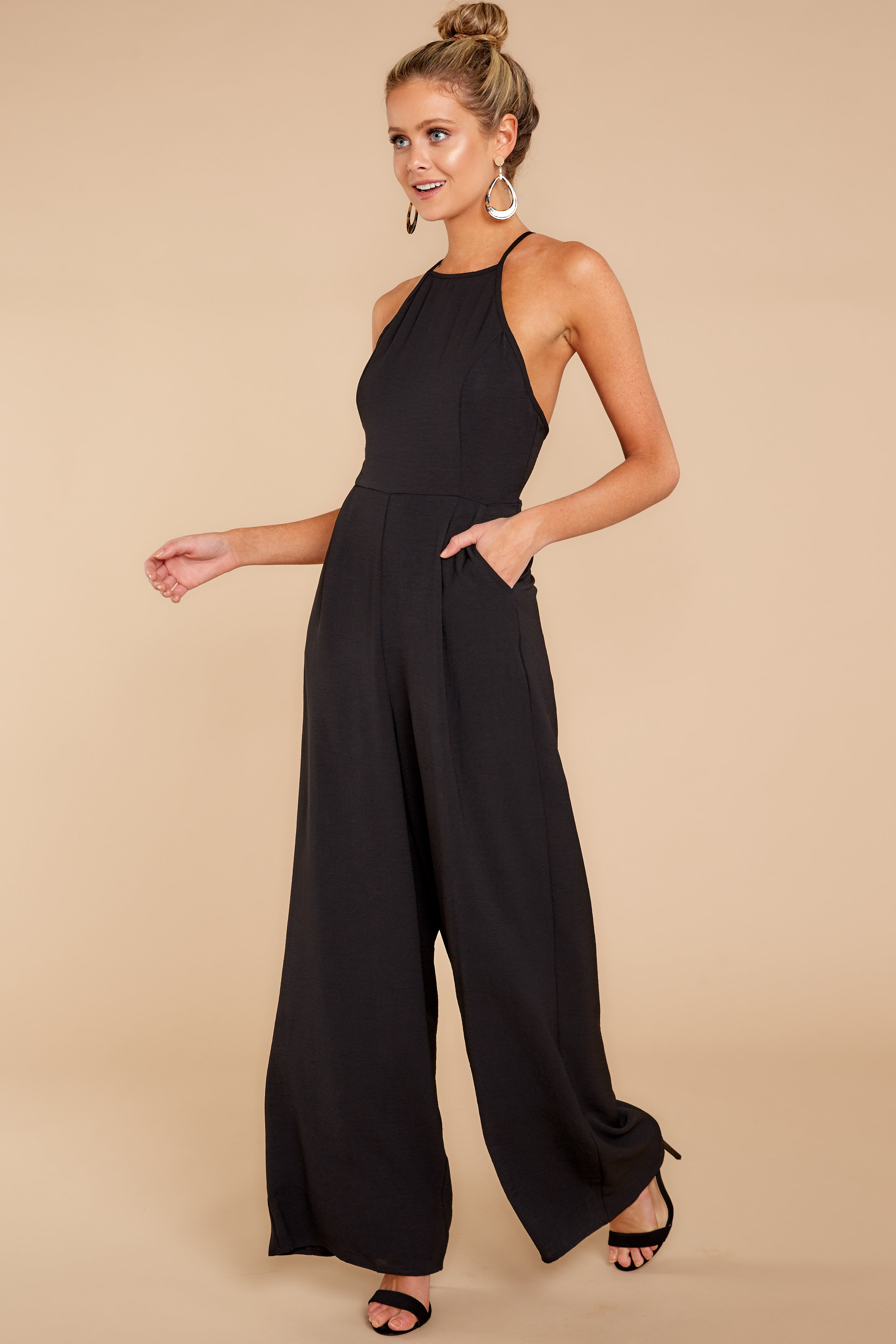 2 No More Games Black Jumpsuit at reddressboutique.com