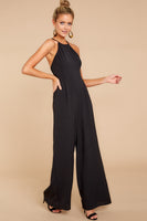 Halter Polyester Hidden Back Zipper Pocketed Pleated Darts Princess Seams Waistline Jumpsuit