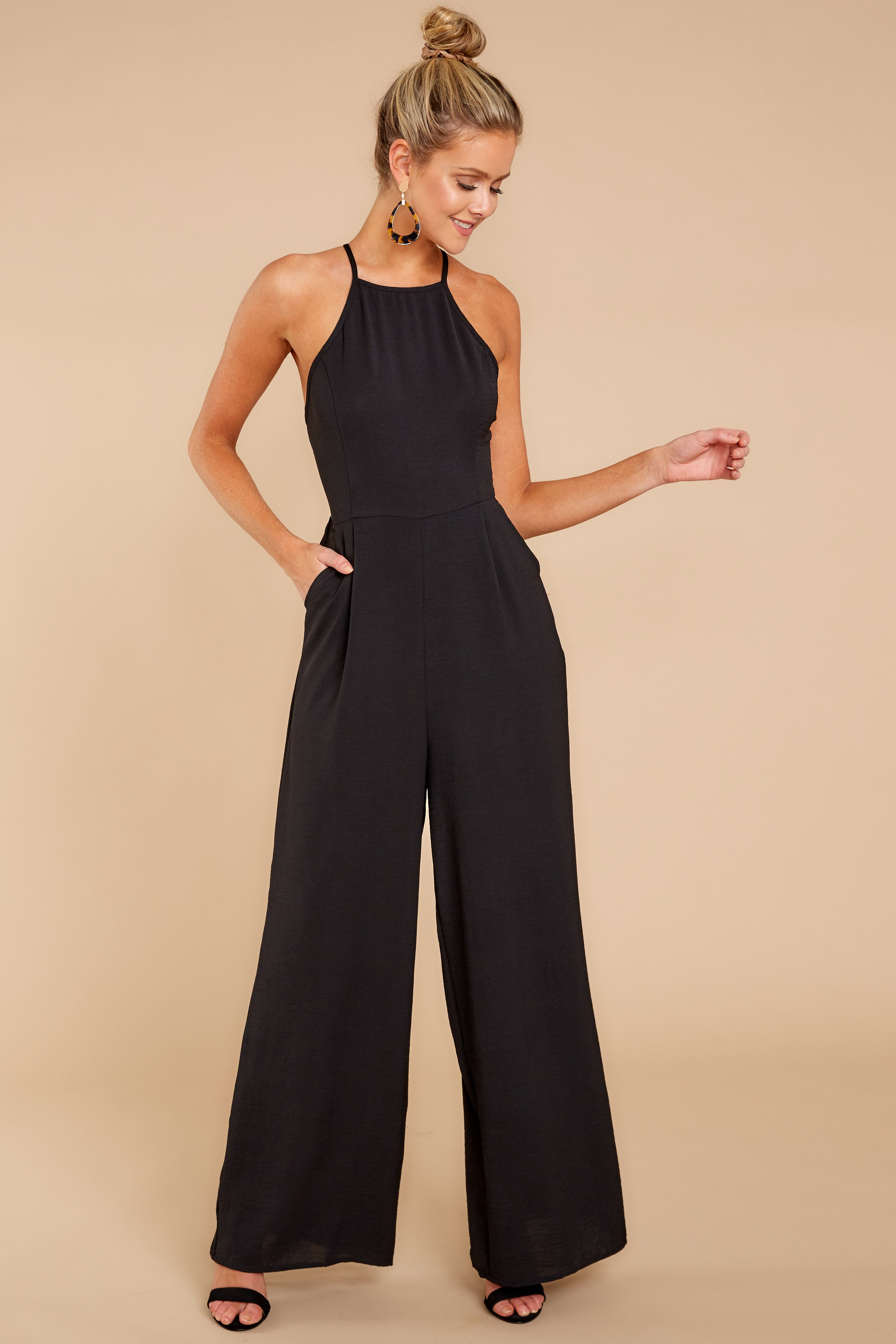 4 No More Games Black Jumpsuit at reddressboutique.com