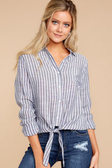 1 To Be Told Navy Stripe Tie Top at reddressboutique.com