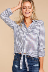 4 To Be Told Navy Stripe Tie Top at reddressboutique.com