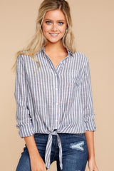 5 To Be Told Navy Stripe Tie Top at reddressboutique.com