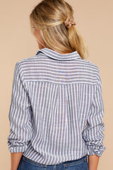 6 To Be Told Navy Stripe Tie Top at reddressboutique.com