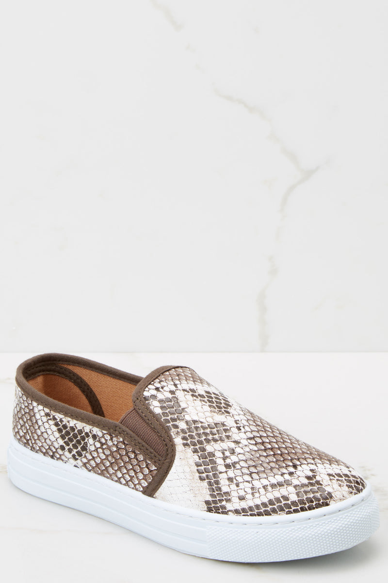 1 Name Your Poison Brown Snakeskin Sneakers at reddressboutique.com
