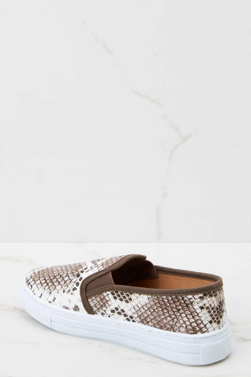 3 Name Your Poison Brown Snakeskin Sneakers at reddressboutique.com