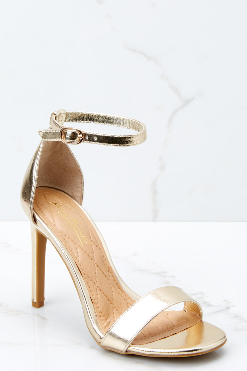 Chic Moves Gold Ankle Strap Heels