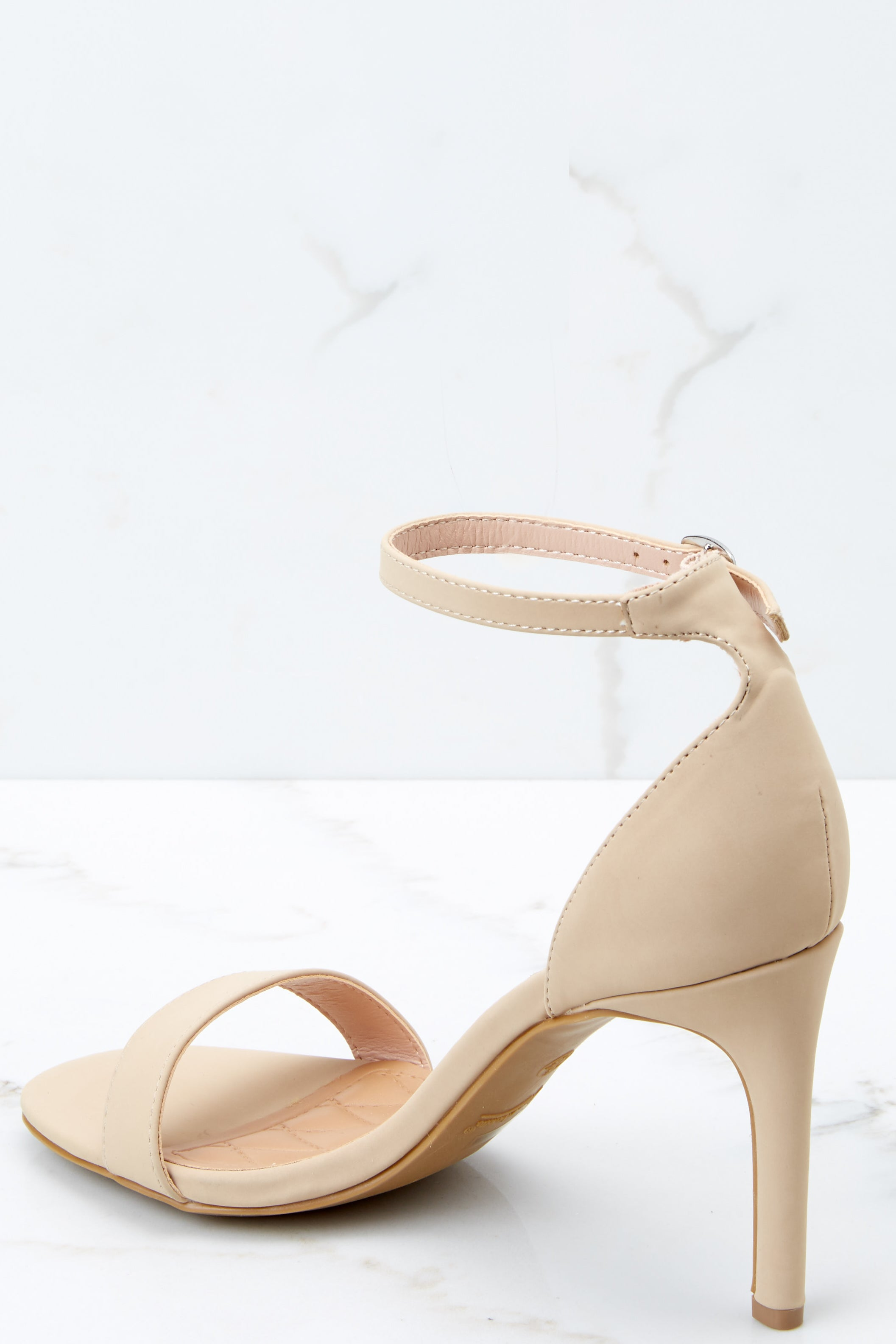 2 Unforgettable Steps Nude Ankle Strap Heels at reddressboutique.com