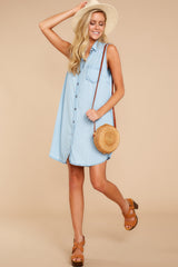 1 Sweetest Delight Light Chambray Button Up Dress at reddressboutique.com