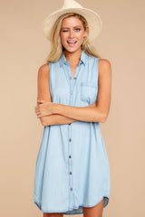 4 Sweetest Delight Light Chambray Button Up Dress at reddressboutique.com