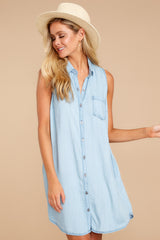 5 Sweetest Delight Light Chambray Button Up Dress at reddressboutique.com