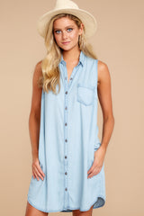 6 Sweetest Delight Light Chambray Button Up Dress at reddressboutique.com