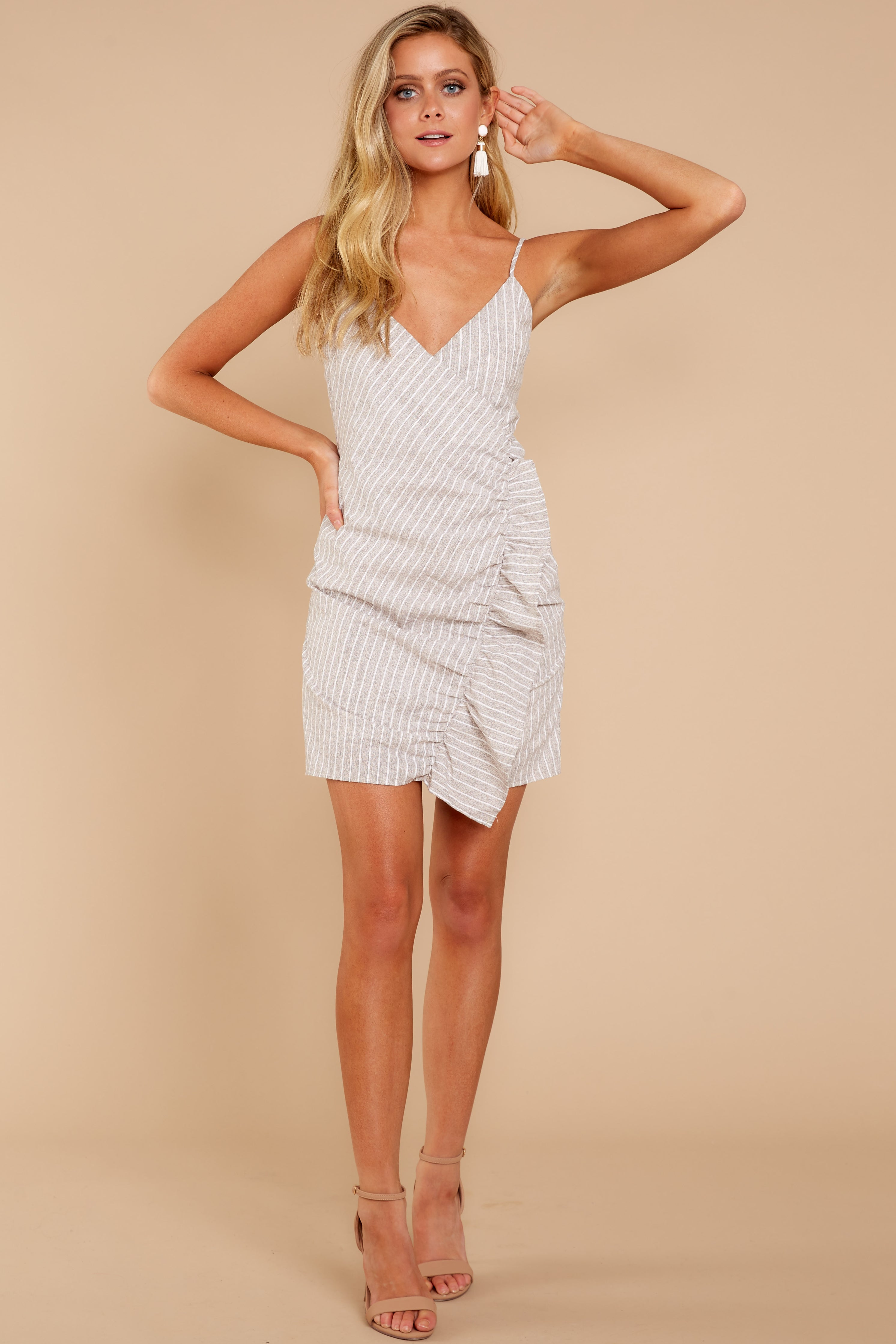 2 Made It To The Top Taupe Stripe Dress at reddressboutique.com