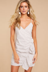 4 Made It To The Top Taupe Stripe Dress at reddressboutique.com