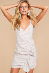 5 Made It To The Top Taupe Stripe Dress at reddressboutique.com