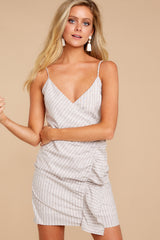 6 Made It To The Top Taupe Stripe Dress at reddressboutique.com