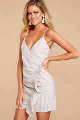 1 Made It To The Top Taupe Stripe Dress at reddress.com