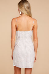 7 Made It To The Top Taupe Stripe Dress at reddress.com