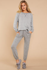 6 Saturday Night Snuggles Grey Joggers at reddressboutique.com