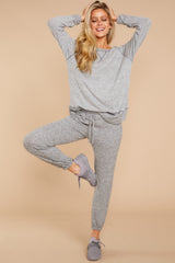 5 Saturday Night Snuggles Grey Joggers at reddressboutique.com