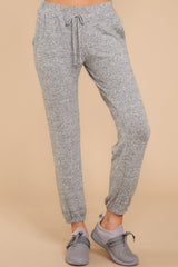 2 Saturday Night Snuggles Grey Joggers at reddressboutique.com