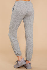 4 Saturday Night Snuggles Grey Joggers at reddressboutique.com