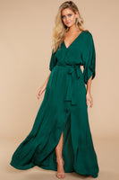 V-neck Elasticized Tie Waist Waistline Dolman Sleeves Faux Wrap Belted Slit Maxi Dress