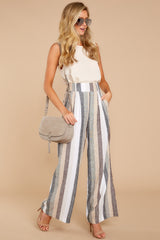 4 Overcome The Day Grey Multi Stripe Pants at reddressboutique.com