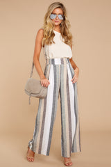5 Overcome The Day Grey Multi Stripe Pants at reddressboutique.com