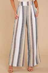 1 Overcome The Day Grey Multi Stripe Pants at reddressboutique.com