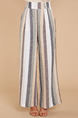 3 Overcome The Day Grey Multi Stripe Pants at reddressboutique.com