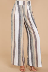 2 Overcome The Day Grey Multi Stripe Pants at reddressboutique.com