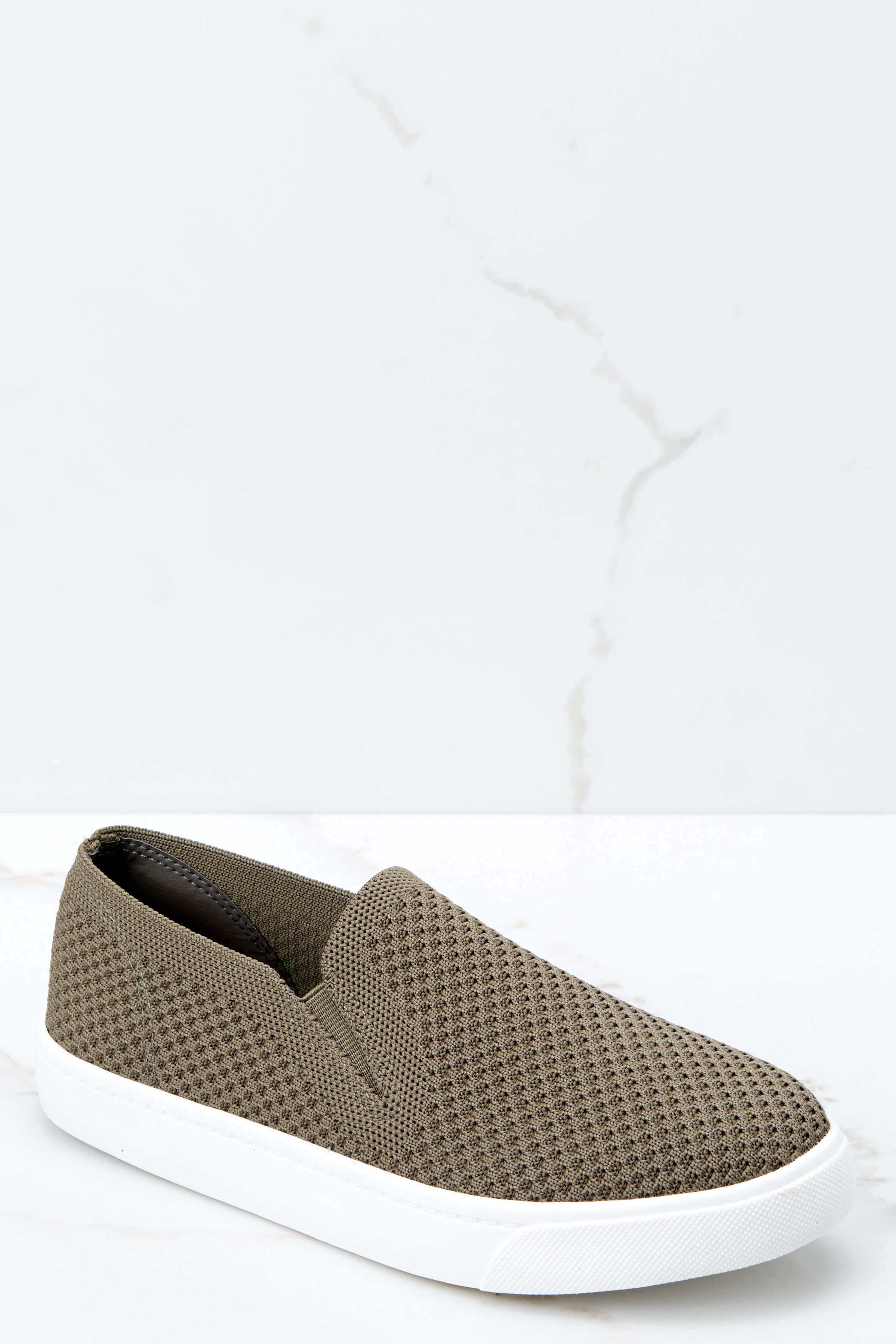 1 At A Moment's Notice Olive Slip On Sneakers at reddressboutique.com