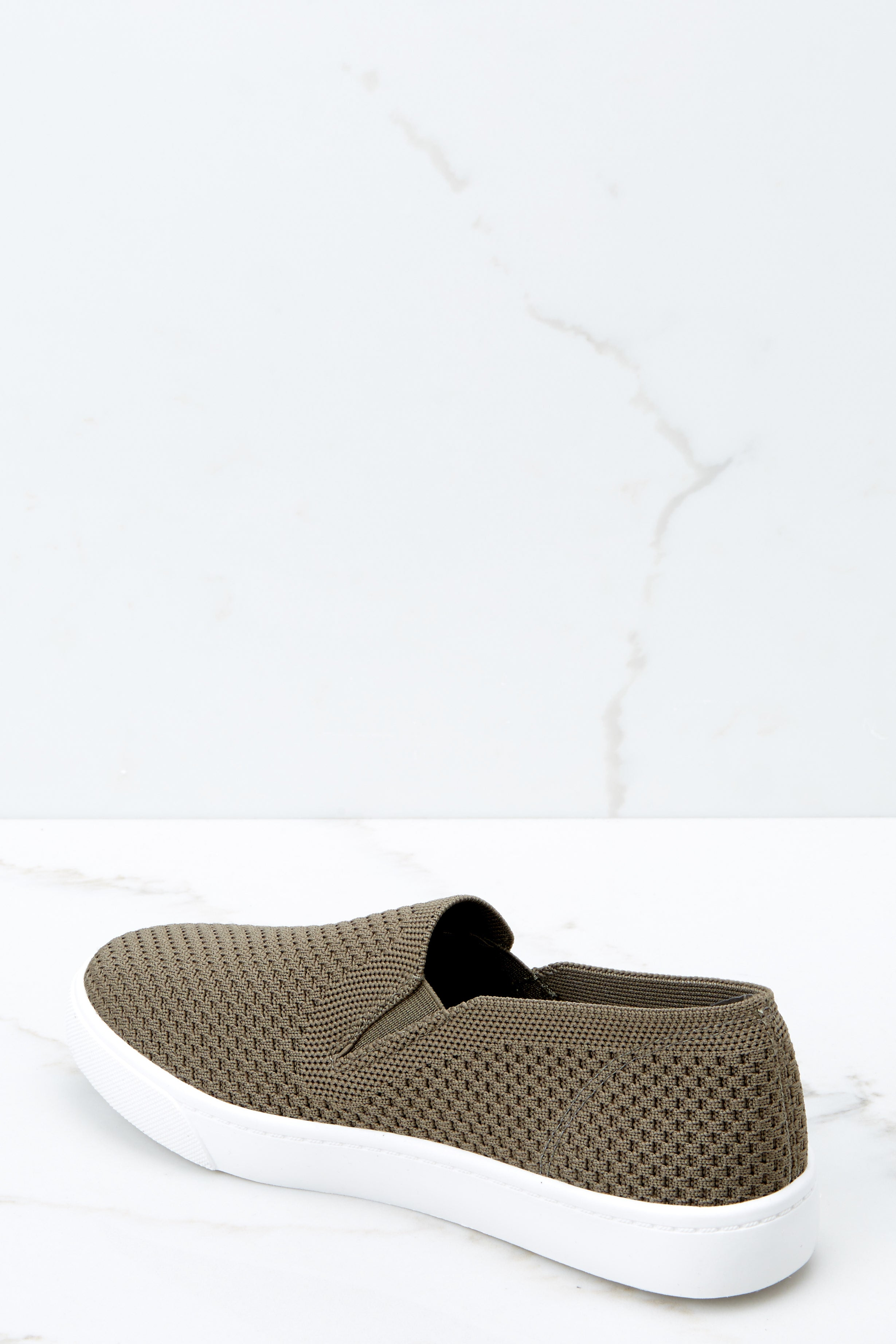 3 At A Moment's Notice Olive Slip On Sneakers at reddressboutique.com