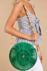 1 Around Again Round Green Bamboo Purse at reddressboutique.com