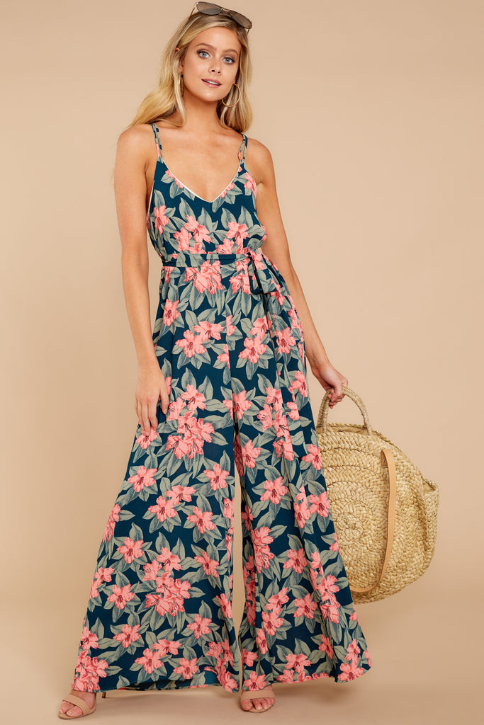 1 Just By You Green Floral Print Jumpsuit at reddressboutique.com