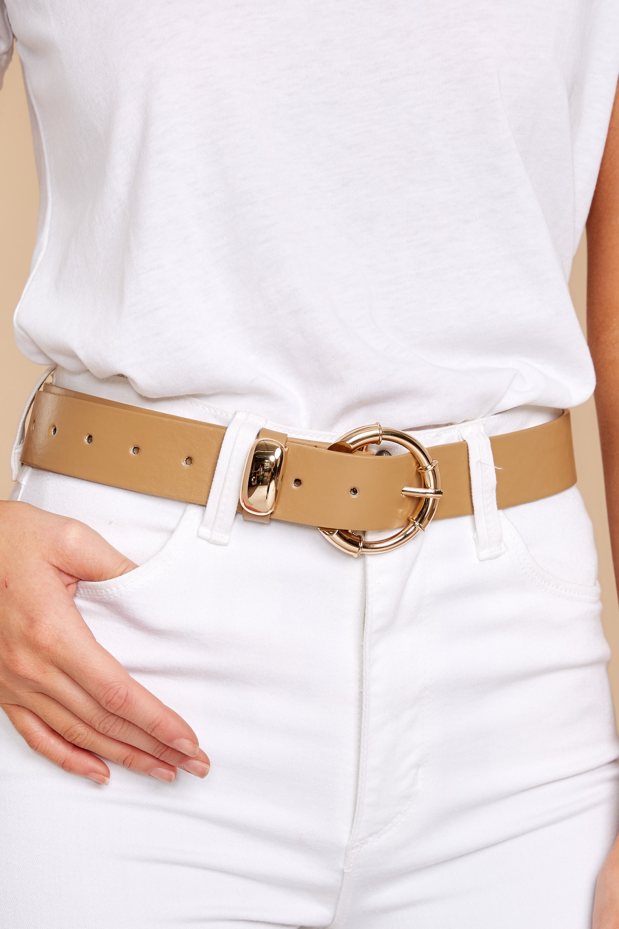 1 Experience It All Taupe Belt at reddressboutique.com