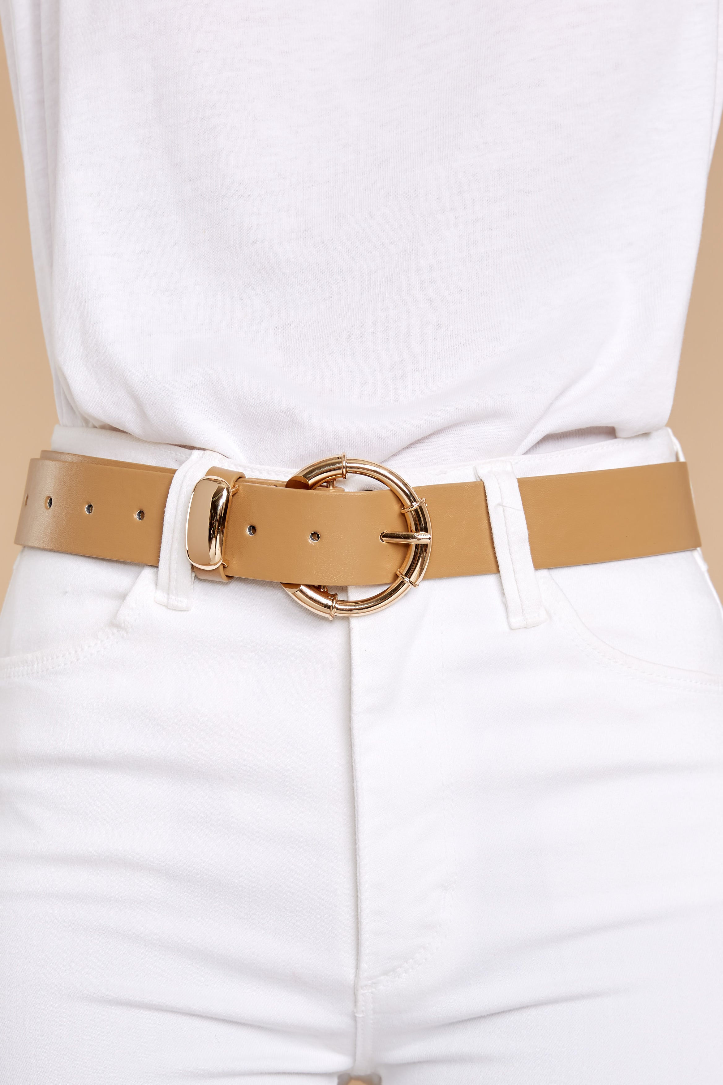 2 Experience It All Taupe Belt at reddressboutique.com