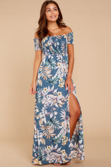 3 Chasing Memories Maxi Dress In Pacific Palm at reddressboutique.com