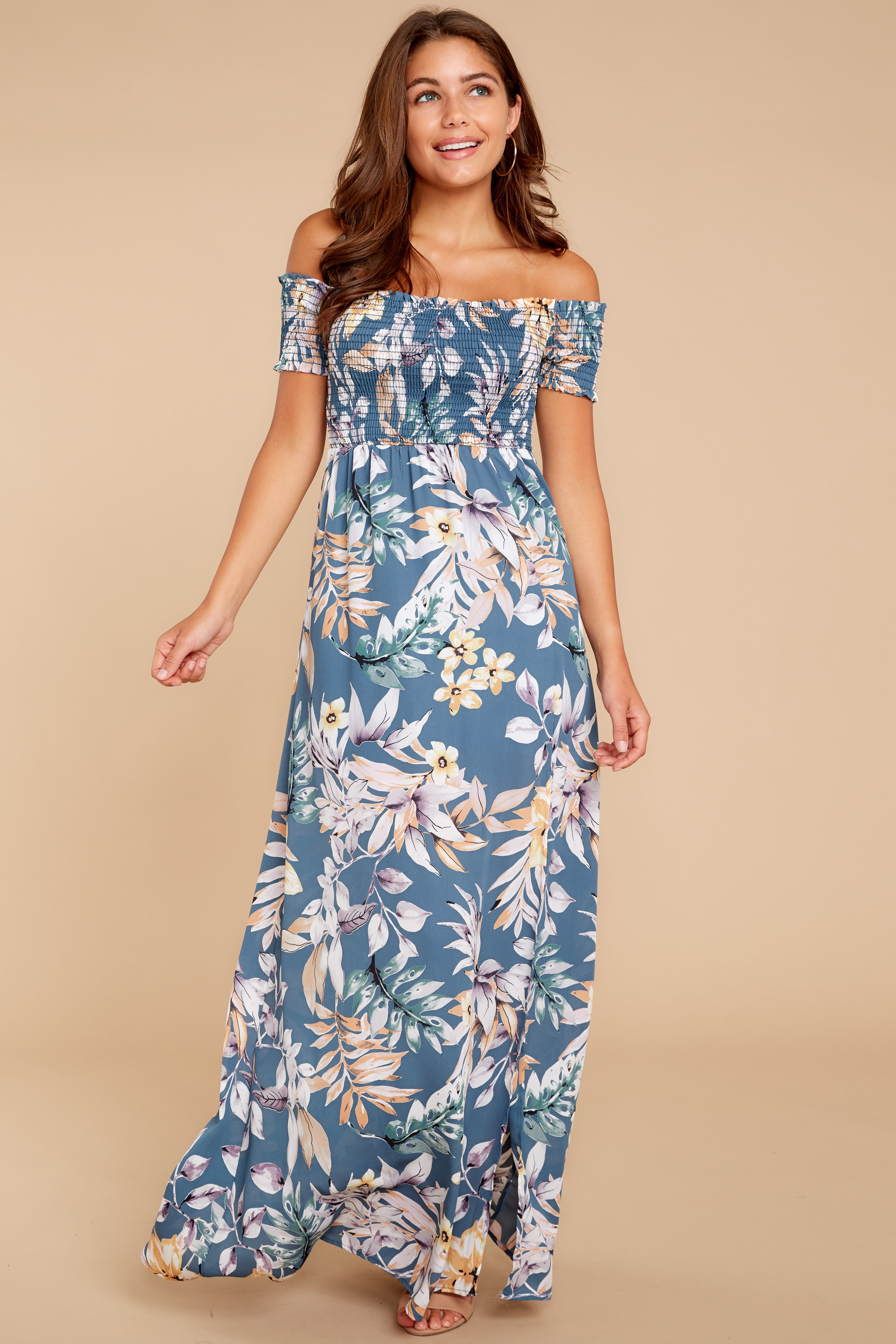 4 Chasing Memories Maxi Dress In Pacific Palm at reddressboutique.com